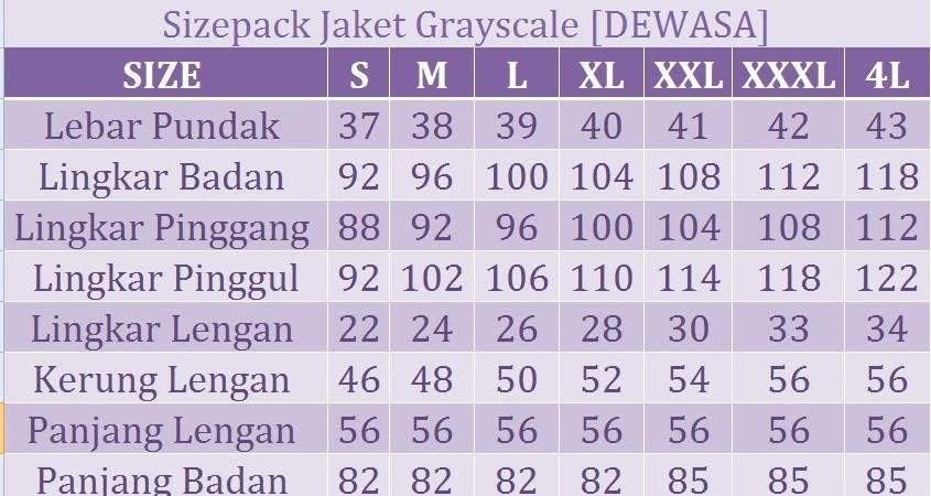 ukuran jaket Grayscale
