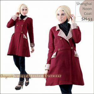Shanghai Coat Muslimah Grayscale SH 53