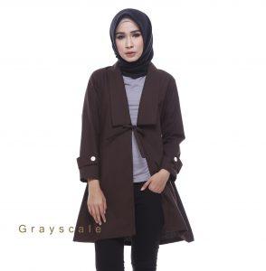 Distributor Blazer Jaket Wanita Muslim Terbaru Bania Coklat