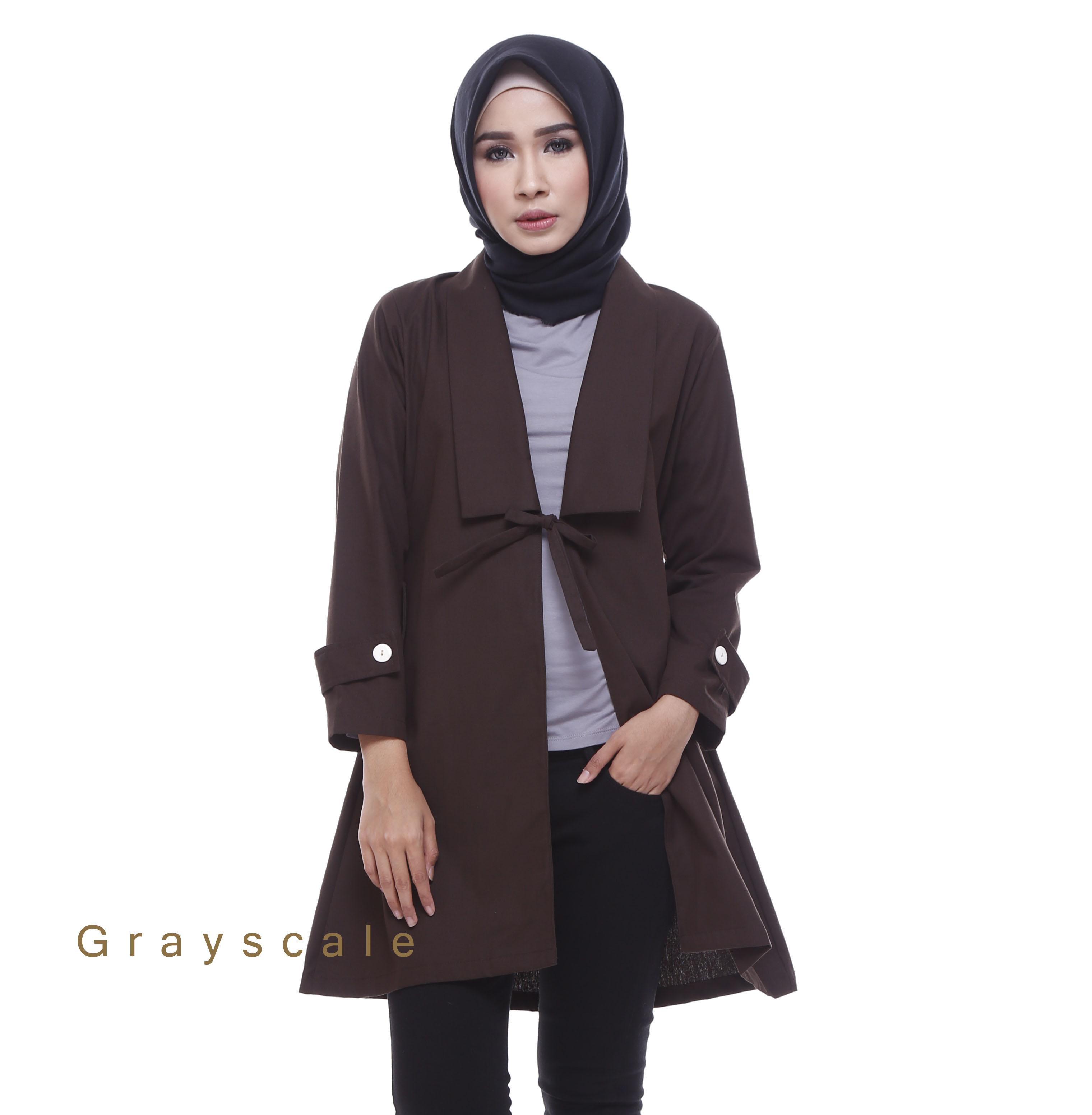 Distributor Blazer Jaket Wanita Muslim Terbaru Bania Coklat 3685594ad7