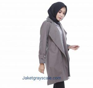 Jual Outer Hijab Model Blazer Terbaru Grosir Victoria Abu