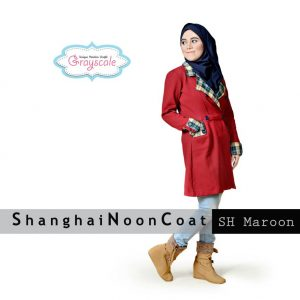 Grosir Baju Muslim Wanita Bandung Shanghai Coat Maroon