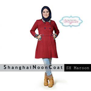 Jual Shanghai Noon Coat Muslimah SH Maroon Model Terbaru