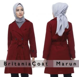 Jual Jaket Muslimah Terbaru Blazer Britania Coat Maroon