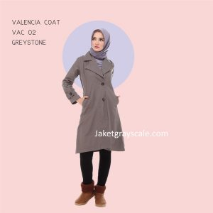 Jual Baju Hijab Abu Terbaru Grosir Valencia Coat Abu VAC 02