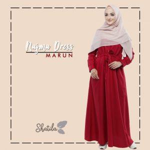 Grosir Dress Muslim Terbaru Najma Dress Shatila Merah Maroon