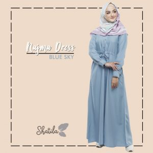 Grosir Dress Muslimah Terbaru Najma Dress Shatila Blue Sky