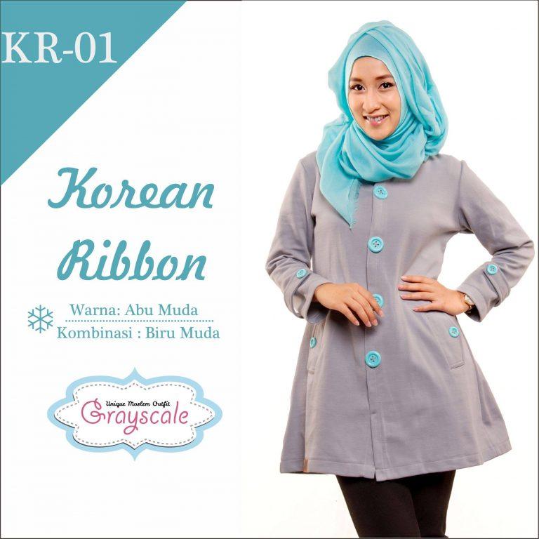 Korean Ribbon Jaket Wanita Muslimah Grayscale