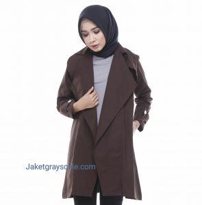 Distributor Outer Baju Muslim Blazer Wanita Victoria Coklat
