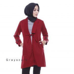 Grosir Jaket Bania Merah Maroon Blazer Jaket Wanita Muslim