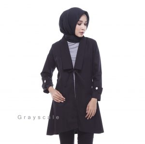 Jaket Keren Unik Bandung Model Coat Muslimah Bania Hitam