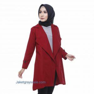 Jual Outer Muslimah Jaket Wanita Terbaru Victoria Maroon
