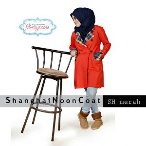 Supplier Baju Muslim Wanita Shanghai Coat Muslimah Merah