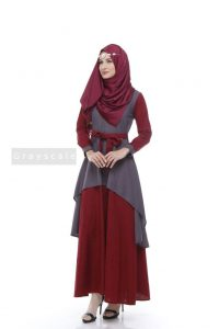 Tsauri Dress Grey Luxury Dress Muslimah Cantik Elegan
