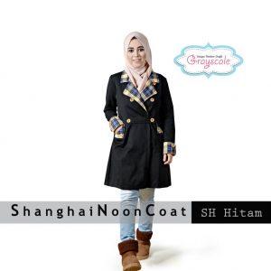 Coat Wanita Muslim Shanghai Noon Hitam Jaket Wanita Terbaru