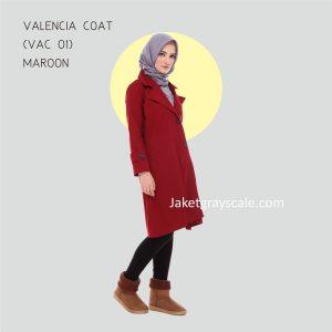 Grosir Outer Muslimah Murah Valencia Coat Maroon VAC 01