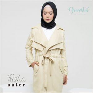 Jual Coat Wanita Muslim Grosir Trisha Outer Matcha Graysha