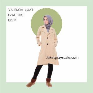 Jual Jaket Cewek Berhijab Valencia Coat Wanita Krem VAC 03
