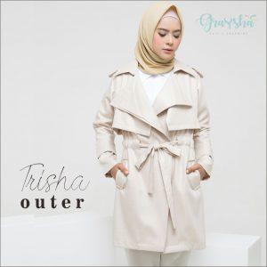 Jual Jaket Syari Muslimah Murah Trisha Outer Cream Graysha