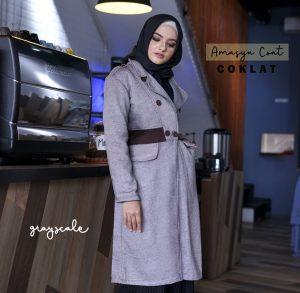 Jual Jaket Perempuan Muslim Amasya Coat Wanita Muslim Coklat