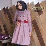 Jual Sweater Islami Murah Jaket Wanita Amasya Coat Maroon