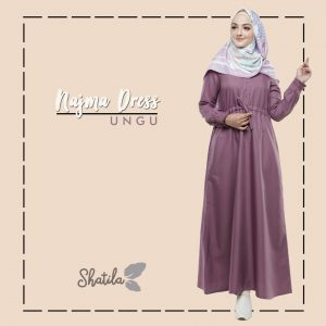 Grosir Dress Muslim Najma Dress Ungu Shatila Terbaru 2018