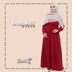 Grosir Dress Muslim Terbaru Najma Dress Shatila Merah Maroon