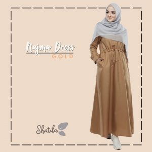Grosir Dress Muslimah Gaul Terbaru Najma Dress Shatila Gold