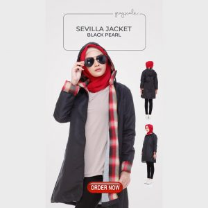 Jaket Muslimah Anti Air Water Proof Anti Angin Sevilla Black