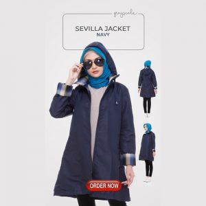 Sevilla Jaket Muslimah Navy Jaket Wanita Anti Air Anti Angin