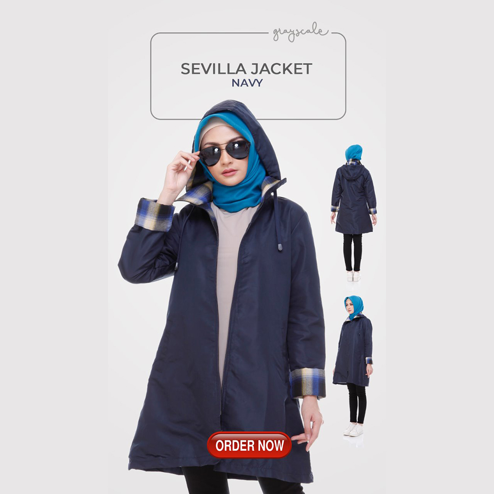Sevilla Jaket Muslimah Navy Anti Air Anti Angin